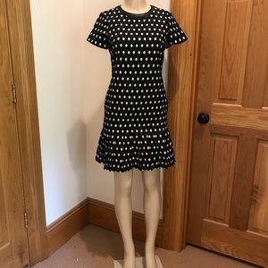 muse 4 black dress white polka dots pleated hem